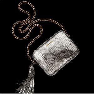 Victoria's Secret Reptile Embossed Silver Bag
